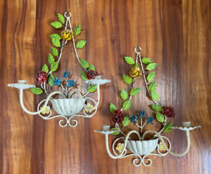 """2 Vintage French Country Floral Wall Candle Holder Sconces """"Italian Tole Look"""""""