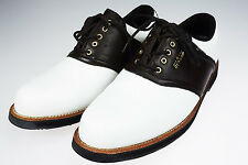Mens 9.5 Dunlop Dry Golf Oxford Shoes Brown & White Leather Golf Cleats