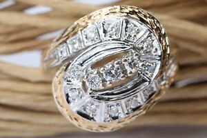 Brillant Gold Ring 585 Gelbgold 14K 17 Brillanten ca. 0,28 ct. VS1 H Größe 55