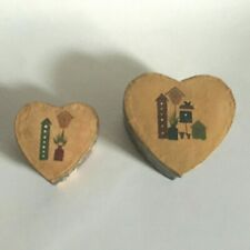 "VINTAGE PAPER MACHE NESTING BOXES HEART SHAPE SET (2) COUNTRY COTTAGE 4"" 3"""