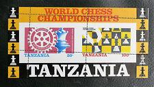 TIMBRES ECHECS : TANZANIE 1986 BLOC FEUILLET N° 44** Variété PIQUAGE A CHEVAL