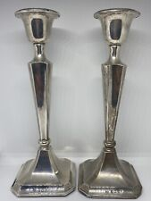 More details for antique silver pair of candlesticks by clark and sewell birmingham 1913