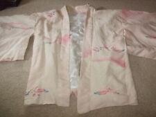 vintage 60s pink floral patterned silk lined kimono jacket Haori Japenese