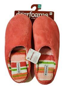Deerfoams Women's Pinkberry Hot Pink & Stripes Slide Slippers XL 11-12  DF320