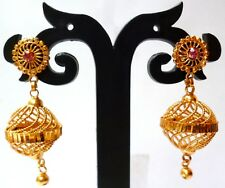 Gold plated City Indian Jhumka Stud Tops Earrings with stone hanging jhumka