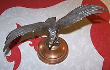 """VINTAGE SOLID BRASS AMERICAN EAGLE ON COPPER STAND 8.5"""" HIGH, WINGSPAN 11.5"""""""
