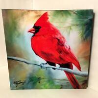 Marcia Baldwin 23509 RED CARDINAL 15x15 Canvas Wall Art in Window Gift Box