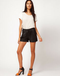 SUPERB ASOS Vero Moda Matt Leather Shorts Paper Bag Tailored Pockets L 12 40 £29