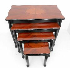 NF Masterpiece wood nest of tables /Brown & black color with diamond design