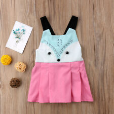 Cute Baby Girls Kids Sleeveless Dress Fox Cartoon Summer Princess Party Dresses
