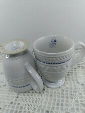 Set Of Two Gourmet Chef Mickey White Mugs With Blue Trim And Footed