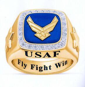 U.S. AIR FORCE FLIGHT 18 K GOLD PLATED FLY FLIGHT WIN ZIRCON RING SIZE 11