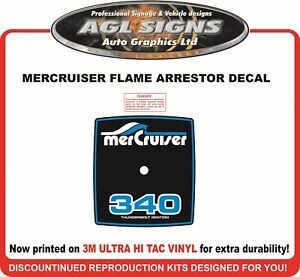 Mercruiser 340  Flame Arrestor Reproduction Decal ,  260 and red available