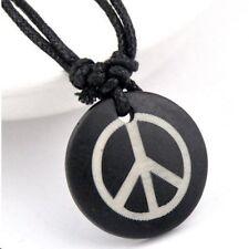 2x (TWO) Peace Sign Necklace Bone Zen Beach Surfer Pendant Tao  Biker    #27