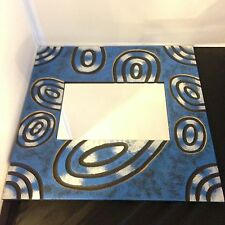 Decorative Contemporary Wall Mirror Hand Painted in Bali -  Blue, Black Ovals