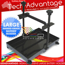 LARGE BOAT/CARAVAN/4WD BATTERY STABILIZER STABILISER TIE HOLDER HOLD-DOWN TRAY