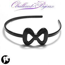 Serre tête noeud noir plastique accessoires cheveux cérémonie PROMOTION neuf