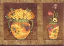 COLORFUL POTTERY,VASES & FLOWERS Wallpaper bordeR wall