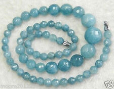 "6-14mm Faceted Aquamarine Round Beads Gemstone Necklace 18"""