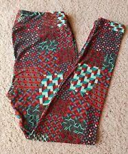 LuLaRoe Leggings TC: Red/Teal Geometric Pattern