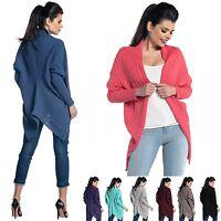 Zeta Ville - Women's Chunky Waffle Knit Cardigan Poncho Coat Batwing - 337z
