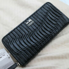 Coach Madison Gathered Black Leather Accordion Zip Wallet 46481