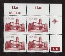 South Africa: South African Architecture; unmounted mint block of 4; 14c