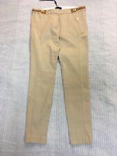 NWT Massimo Dutti honey beige trousers slim stretchy jodhpurs leather detail 12