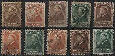 Canada VanDam # FB37-46 - 1c-9c bill stamps including 2c brown - 1868