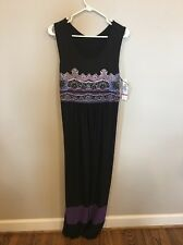 Tiana B Full Length Black Maxi Dress Sleeveless Large Cross Back