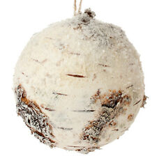 """RAZ Imports 5"""" Snowy Faux Birch Ball Ornament For Large Christmas Tree Or Bowl"""