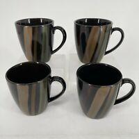 Set of 4 - Sango Avanti Black 4721 Coffee Cups Mugs