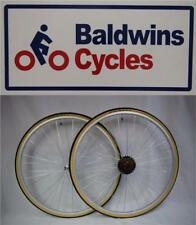 "27"" x 1 1/4 PAIR Q/R Bike Wheels + Premium Amber Wall Tyre's & 6 Speed Freewheel"
