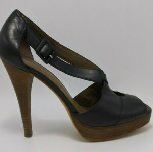 Country Road Strappy Sexy BLACK Leather Tan Stacked Platform Stiletto Size 39