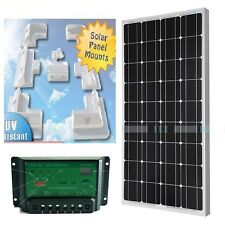 100W solar panel kit for boat caravan motorhome corner brackets 12v New