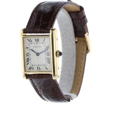Cartier Tank Louis 18K Yellow Gold 24 mm Manual Black Leather Watch