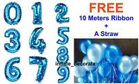 """16"""" Pink Blue Foil Number Balloons Self Inflating Air Birthday Age Wedding Balon"""