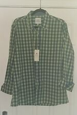 Mens 100% Cotton green checked long-sleeve shirt size L. Bnwt NEW