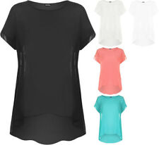 Chiffon Patternless Short Sleeve T-Shirts for Women