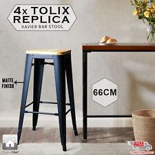 4 X Replica New Tolix Bar Stool Xavier Metal Steel W/ Pinewood Seat, Black, 66cm