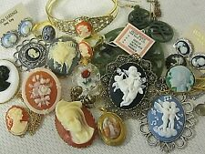 A3 BIG LOT 20pc WEAR CAMEO JEWELRY VTG BROOCH LOCKET CUFF NECKLACE EARRINGS RING