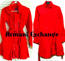 A/X  red belted rain coat with puff bubble sleeve