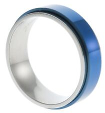 Blue Tone 5mm ladies Stainless Steel Spinner Wedding Worry Band Ring size 8