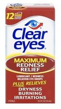CLEAR EYES - 12 Hours Maximum Redness Burning Dryness Relief EYE DROPS 15ml