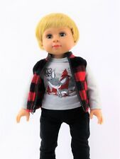 """Fox 3pc Vest Pant Set Fits 18"""" American Boy or Girl Doll Clothes"""