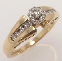 14K YELLOW GOLD 1/3 CTTW GENUINE DIAMOND CLUSTER SOLITAIRE ENGAGEMENT RING SZ 7