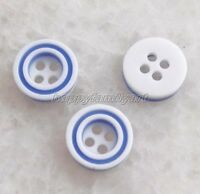 100Pcs Blue & White Round 4 holes resin sewing buttons 11 mm yrk802 K