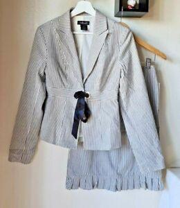 WILLI SMITH Women's 2 PC Skirt & Open Blazer Gray Stripes Size 2 Stretch Outfit