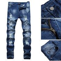 Men's Skinny Jeans Slim Fit Stretch Denim Biker Jeans Pants Stylish Style People
