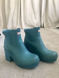 Hunter Teal Blue Block Heel Boots Size Uk 6 Eu 39 VGC